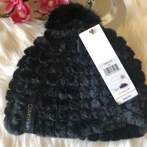 Calvin Klein Faux Fur Pom Beanie (NWT)
